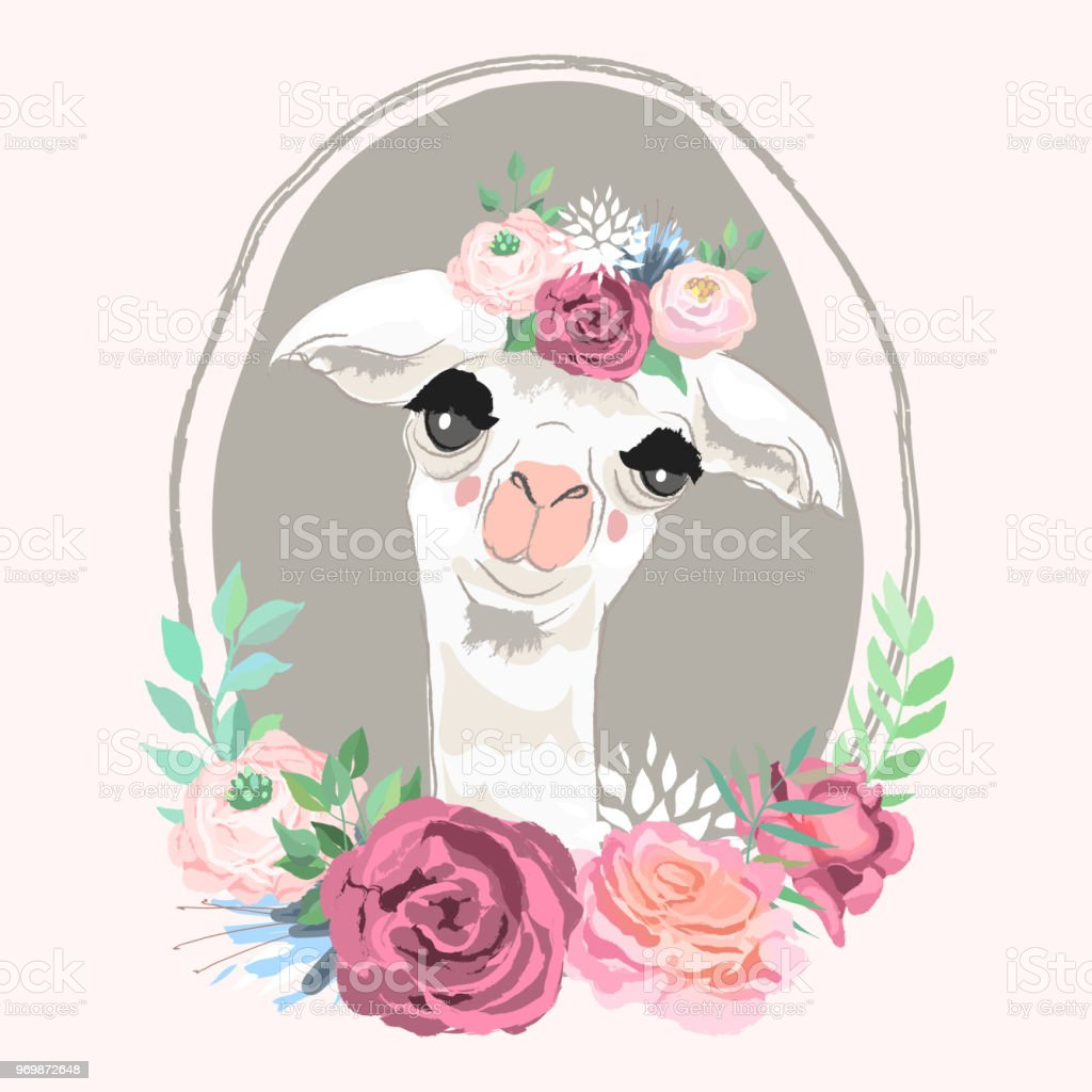 Beautiful Llama Alpaca Portrait In Floral Crown Flowers Bouquet In ...