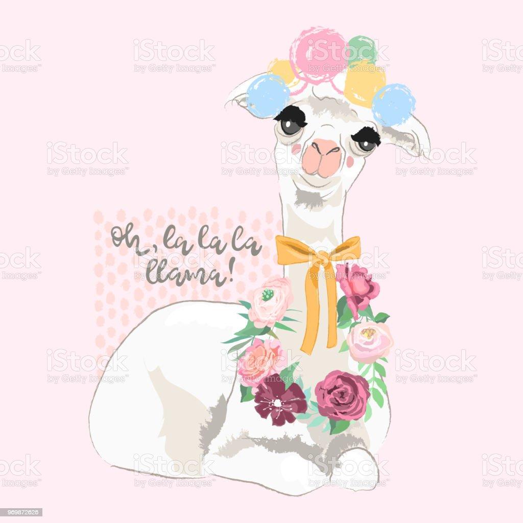 Beautiful llama alpaca with pompoms tied bow and floral wreath beautiful llama alpaca with pompoms tied bow and floral wreath flowers bouquet izmirmasajfo