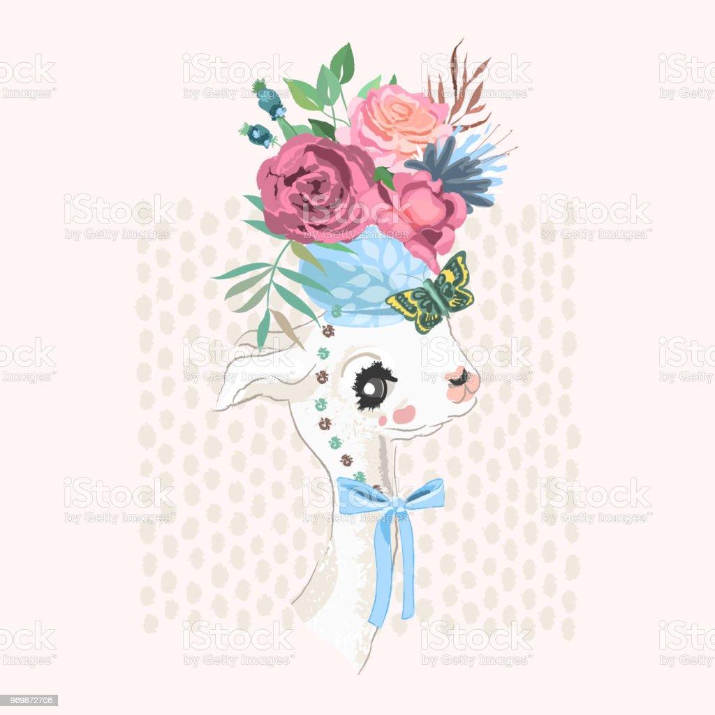 Beautiful llama alpaca with vintage vase with floral flowers bouquet beautiful llama alpaca with vintage vase with floral flowers bouquet butterfly and tied izmirmasajfo