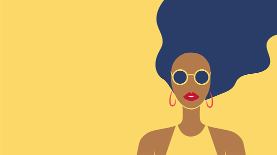 Beautiful long-haired tanned young woman wearing sunglasses portrait. Summer fashion poster. - Vector illustration