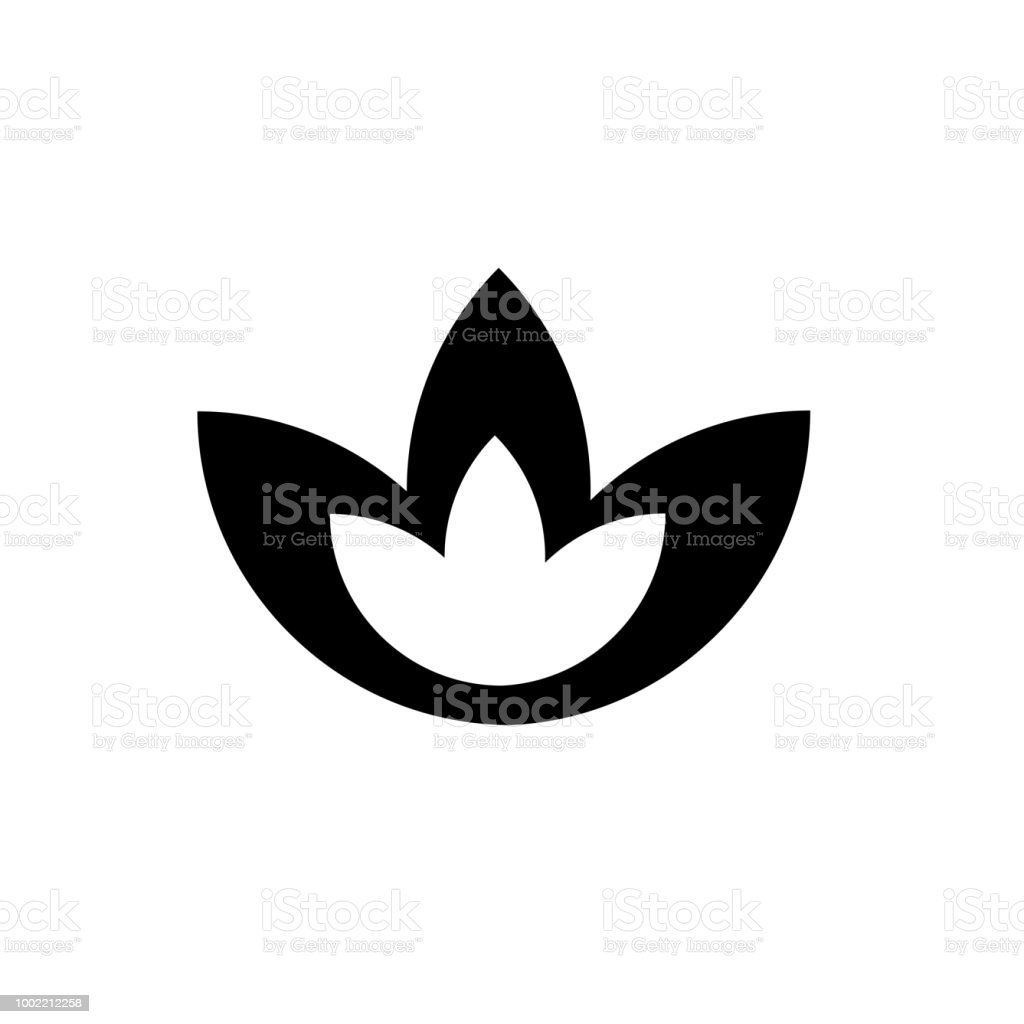 Beautiful Lotus Flower Icon Vector Sign And Symbol Isolated On White