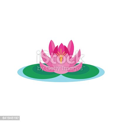 Beautiful lotus flower isolated on white background. Abstract spring blossom plant petal lily vector. Nature floral decorative ornament spa leaf botany sign.