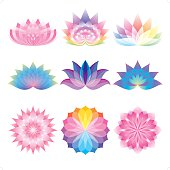 A set of 9 colorful lotus flower icon. Everything is grouped individually.