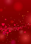 Beautiful love background with hearts and sparkles for Valentines day design