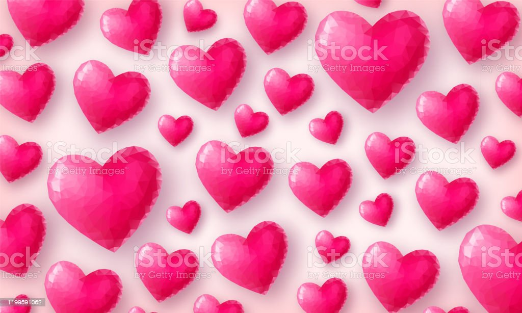 Beautiful Love Wallpaper Hearts Top View Stock Illustration