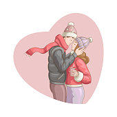 Happy Valentine's Day. Vector illustration of cartoon style beautiful loving couple kissing for your design