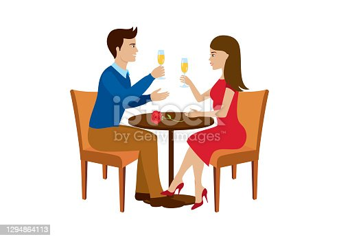 istock Beautiful loving couple toasting with champagne icon vector 1294864113
