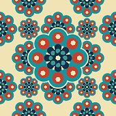 Beautiful mandala pattern with islamic geometric flower seamless pastel colors background.