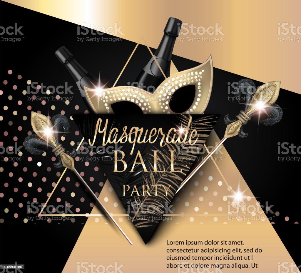 Vackra Maskerad Banner Med Mask Flaskor Champagne Och Trianglar Guld ... 0d6c6ae8f1e0d