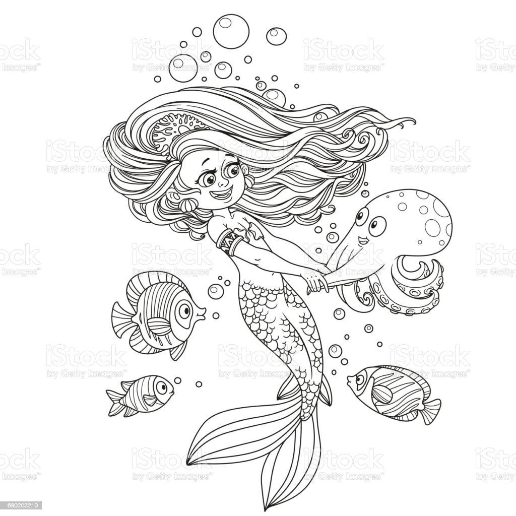 Schöne Meerjungfrau Mädchen Tanzen Mit Einer Krake Skizziert Stock ...