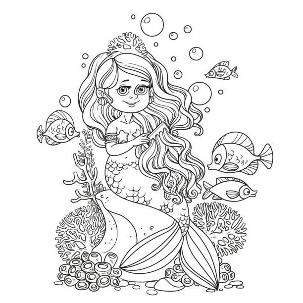bildbanksillustrationer, clip art samt tecknat material och ikoner med vacker sjöjungfru flicka sitter på en klippa och kammar hennes hår - sparkle teen girl
