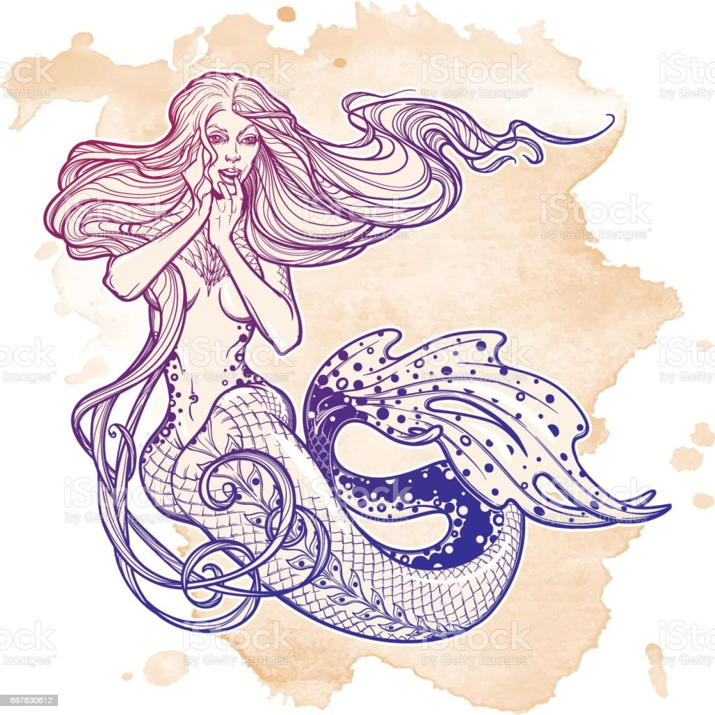 Beautiful mermaid girl sitting hand drawn artwork. Sensual and dangerous ocean siren in retro style vector art illustration