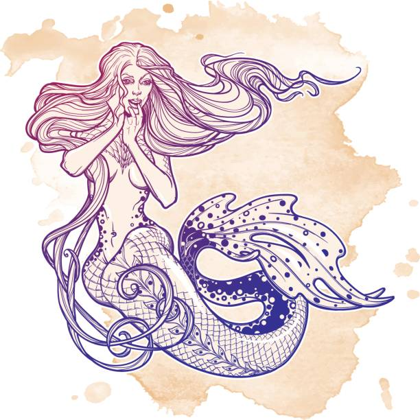 illustrations, cliparts, dessins animés et icônes de fille de belle sirène assise main dessinée oeuvre. sirène sensuelle et dangereuse de l'océan dans un style rétro - tatouages de sirène