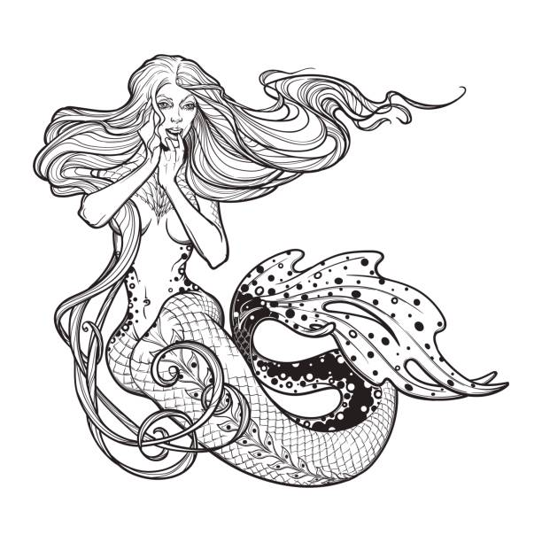beautiful mermaid girl sitting hand drawn artwork. sensual and dangerous ocean siren in retro style - mermaid tattoos stock illustrations, clip art, cartoons, & icons