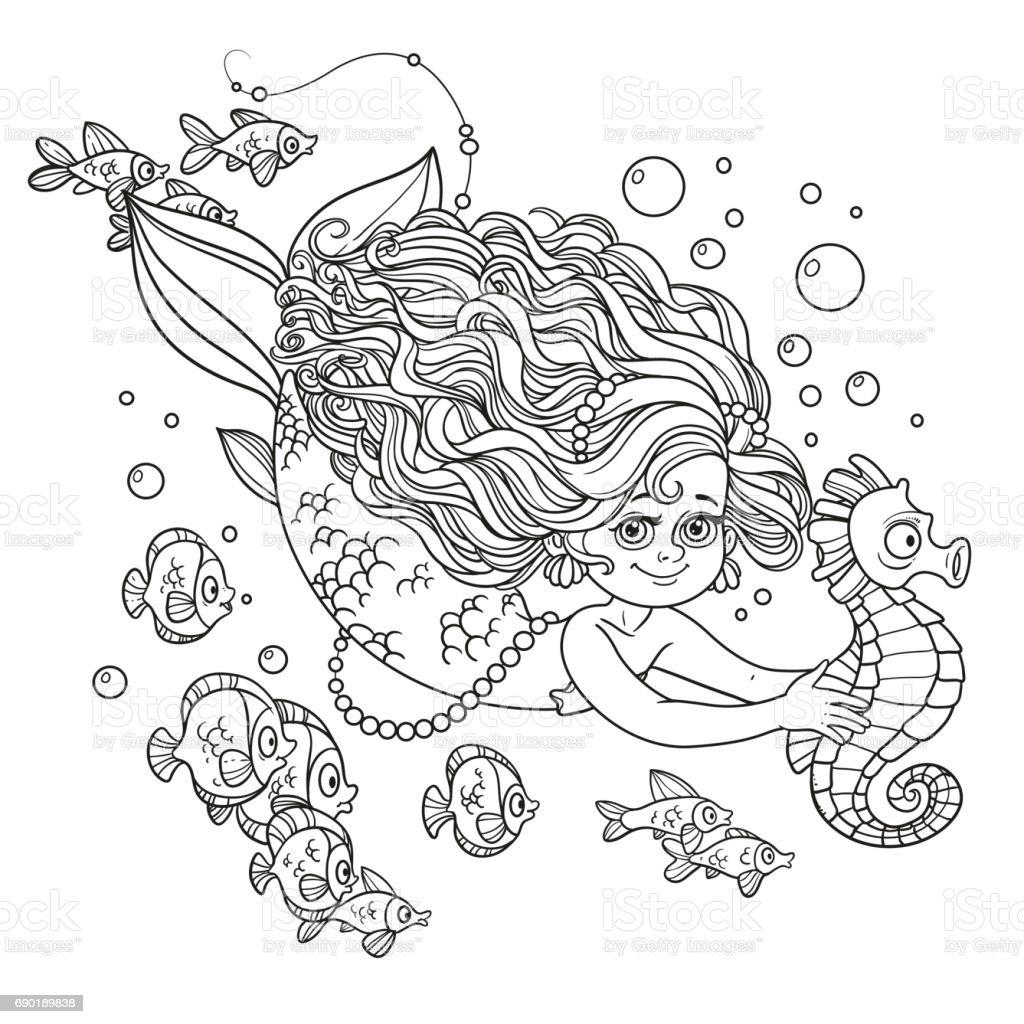 Deniz Atı Han Ile Yüzme Güzel Deniz Kızı Kız Stok Vektör Sanatı