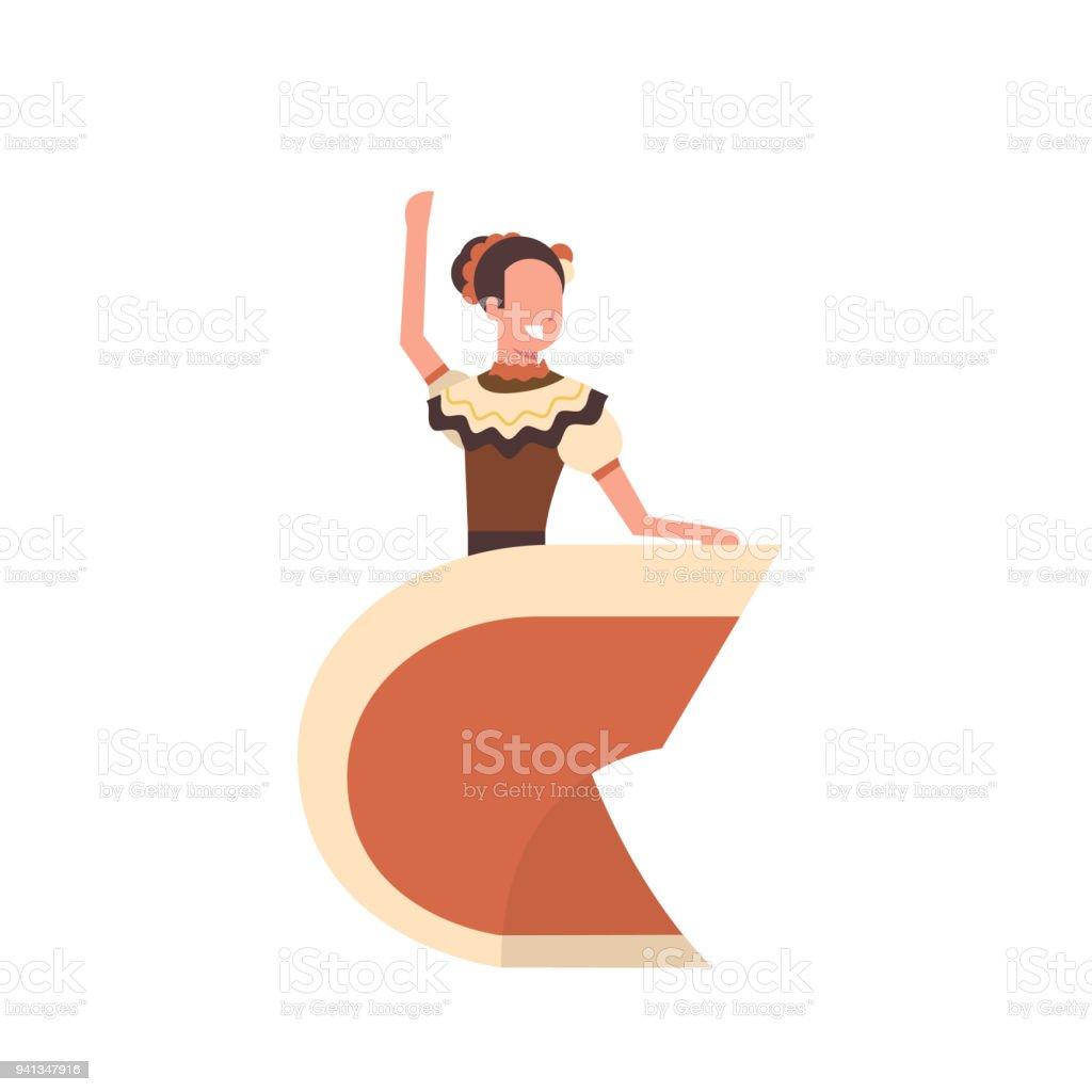 a5d54359d Ilustración de Hermosa Chica Mexicana Bailando En Ropa Tradicional ...