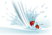 Self illustrated Beautiful Milk Splash with cherries, used mesh tool in the background to create this image. Please visit my portfolio for more options. Please see more related images in these lightboxes:http://i1136.photobucket.com/albums/n483/Nagendra_art/splashes-1.jpg?t=1291448607