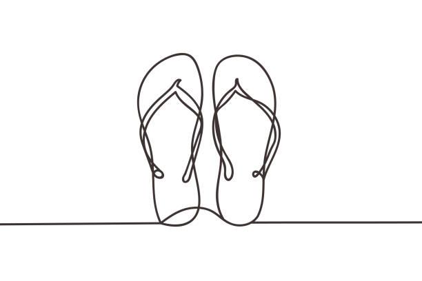 stockillustraties, clipart, cartoons en iconen met mooie minimale continue lijn flipflop ontwerp vector - slipper