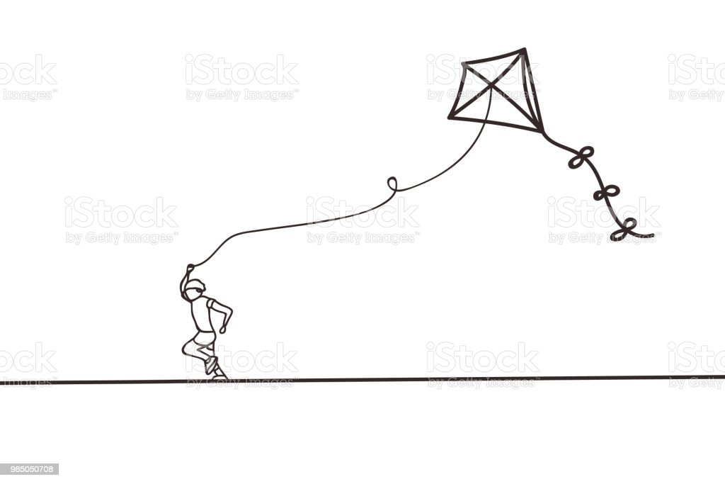 Beautiful minimal continuous line kite design vector