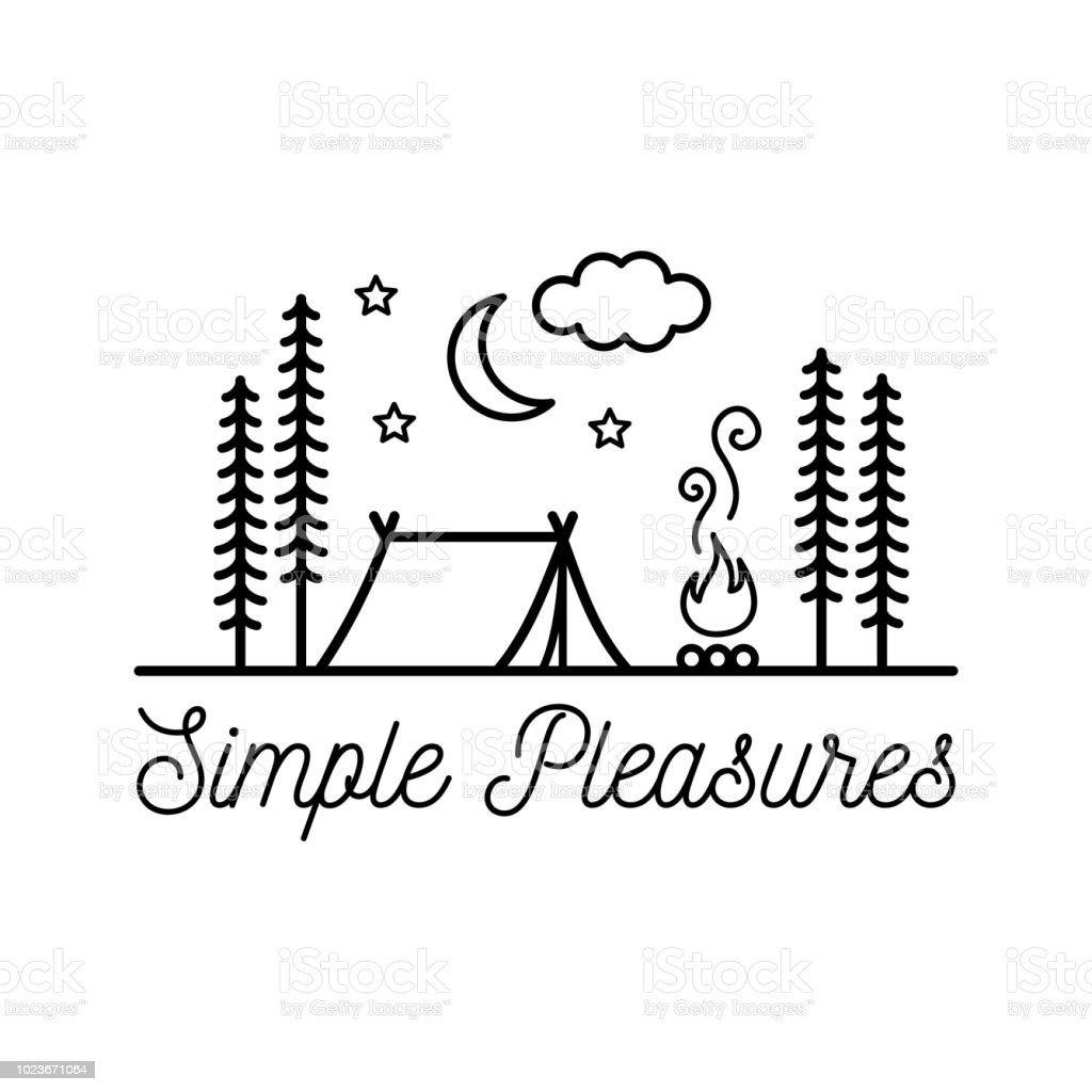 Beautiful minimalist vector illustration - camping in a forest, Simple Pleasures – artystyczna grafika wektorowa