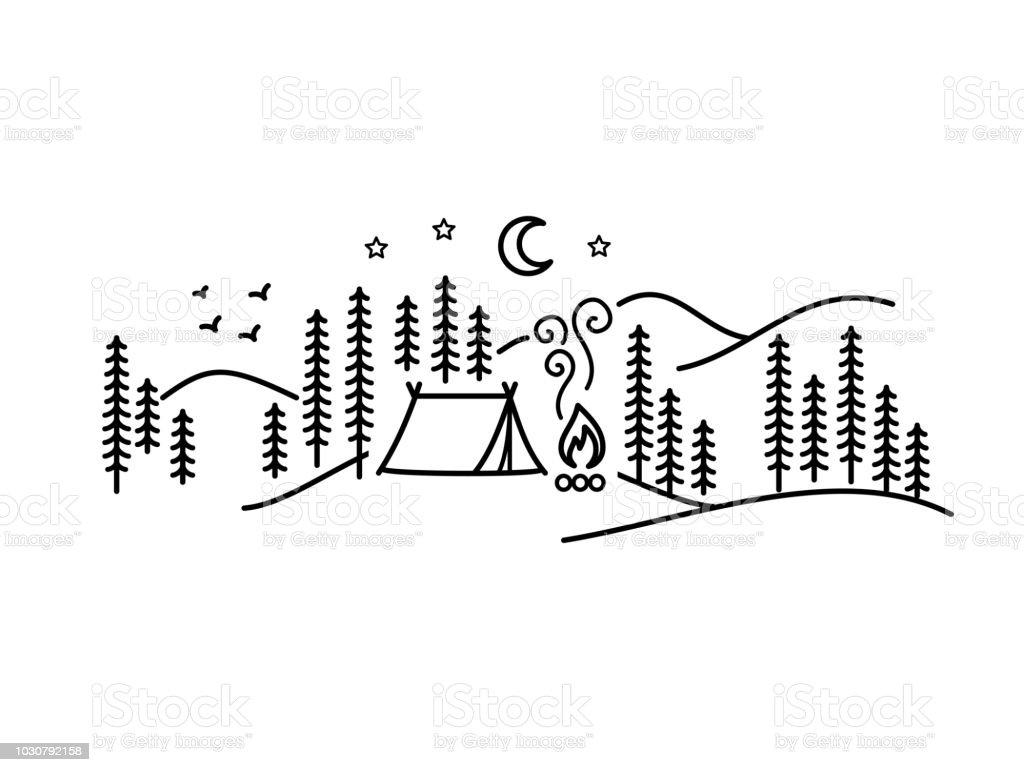 Prachtige minimalistische vectorillustratie - camping in een forest, Simple Pleasures - Royalty-free Autoreis vectorkunst