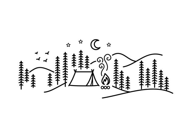 Beautiful minimalist vector illustration - camping in a forest, Simple Pleasures Beautiful minimalist vector illustration - camping in a forest, Simple Pleasures minimalist art wilderness stock illustrations
