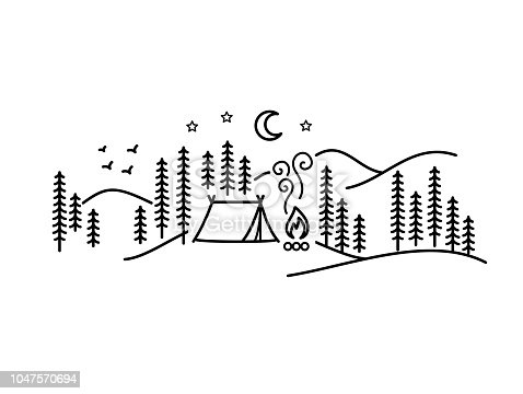 Beautiful minimalist vector illustration - camping in a forest, Simple Pleasures minimalist art