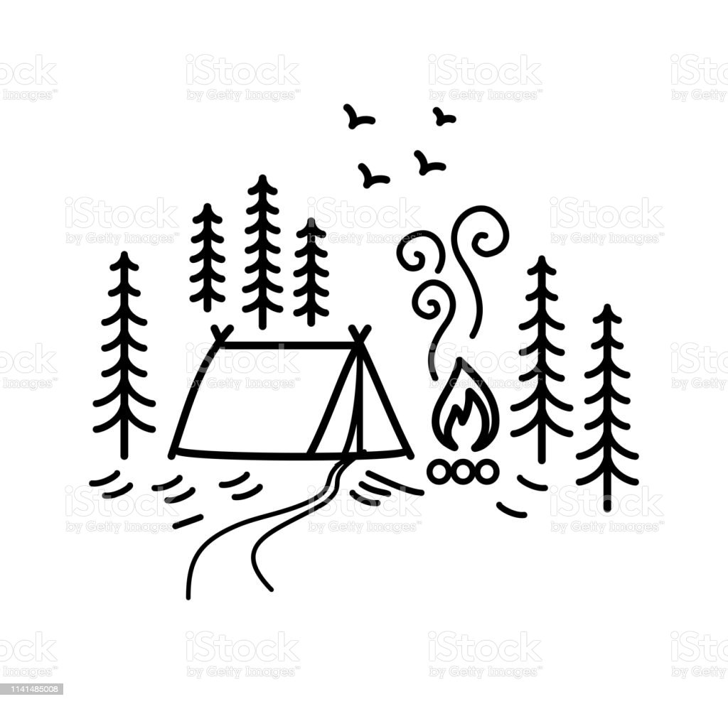 Beautiful minimalist vector illustration - camping in a forest art