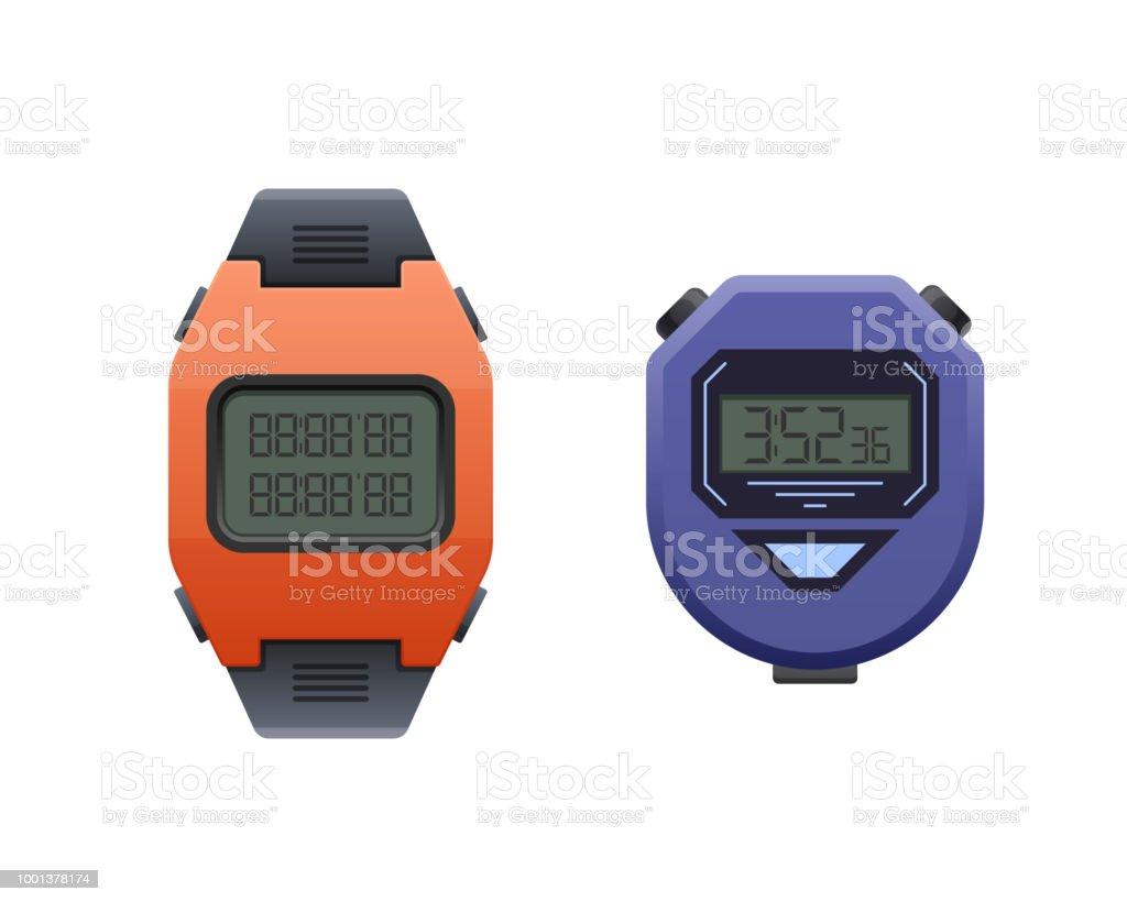 1fb2fe07e2ac Reloj de pulsera digital moderna hermosa. Reloj deportivo cronómetro y la  muñeca ilustración de reloj