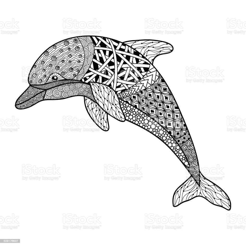 beautiful monochrome black and white dolphin with