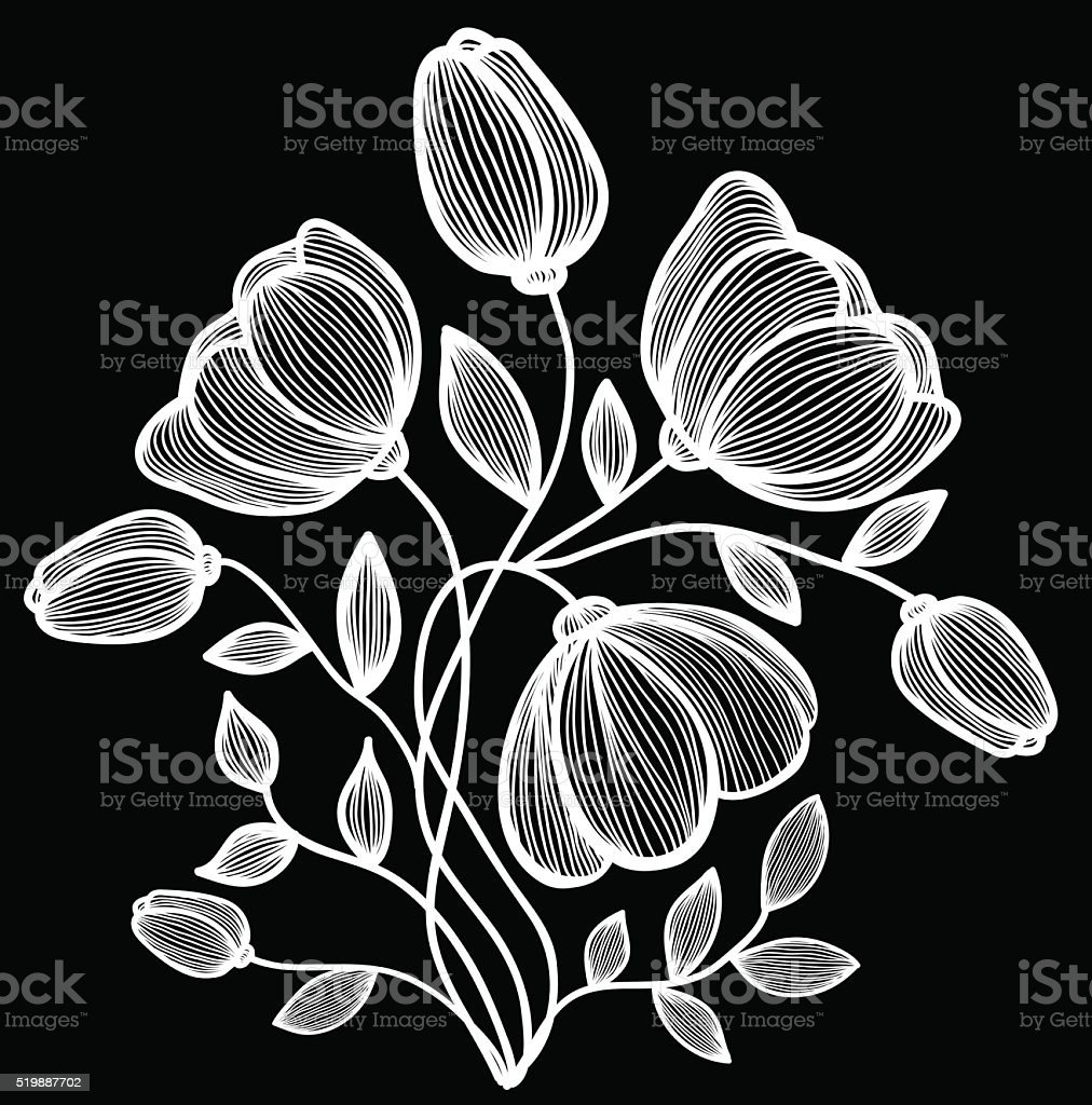 Beautiful monochrome black and white flowers and leaves isolated beautiful monochrome black and white flowers and leaves isolated royalty free stok vektr sanat mightylinksfo