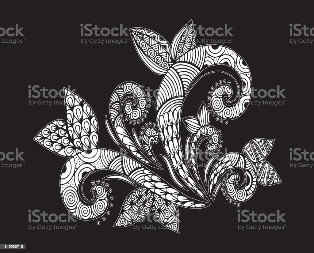 Belles Fleurs Noir Et Blancs Monochromes Et Feuilles Isolées