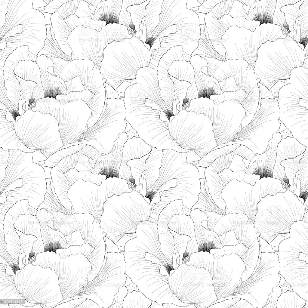 Beautiful monochrome, black and white seamless background with flowers vector art illustration