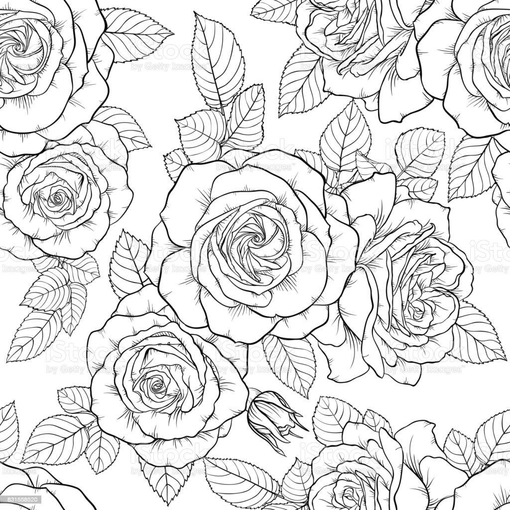 バラ美しいモノクロ白黒シームレスなパターンを残します手描きの輪郭線