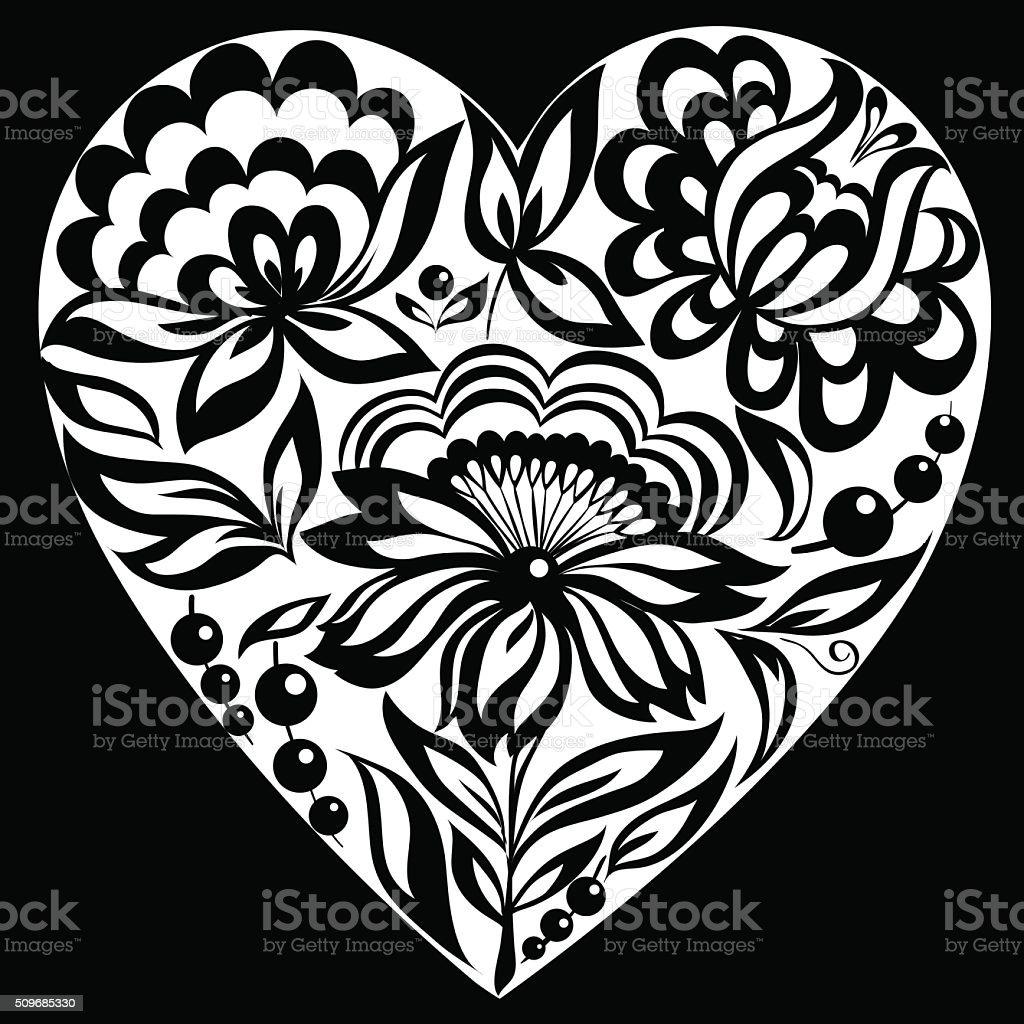 Magnifique Monochrome Noir Et Blanc Silhouette Du Coeur