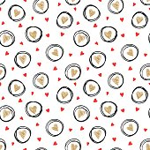 beautiful monochrome gold, red, black and white seamless pattern with doodling sketch heart. design for holiday greeting card and invitation of the wedding, Valentine's day and Happy love day.