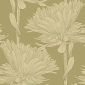 Beautiful monochrome, seamless background with flowers aster.