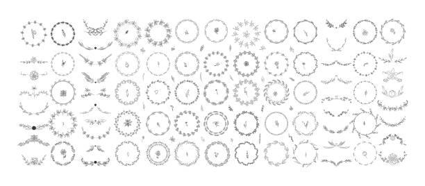schönes monogramm set - monogrammarten stock-grafiken, -clipart, -cartoons und -symbole