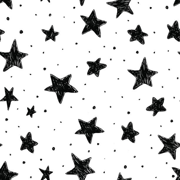 Beautiful monohrome black and white seamless sky pattern with textured stars, hand drawn. vector art illustration