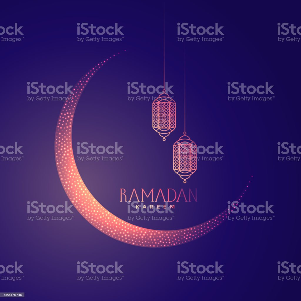 diseño hermoso de la luna y las farolas para Ramadán kareem - ilustración de arte vectorial