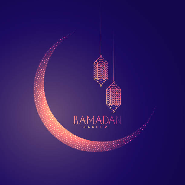 beautiful moon and lanterns design for ramadan kareem - ramadan stock illustrations, clip art, cartoons, & icons
