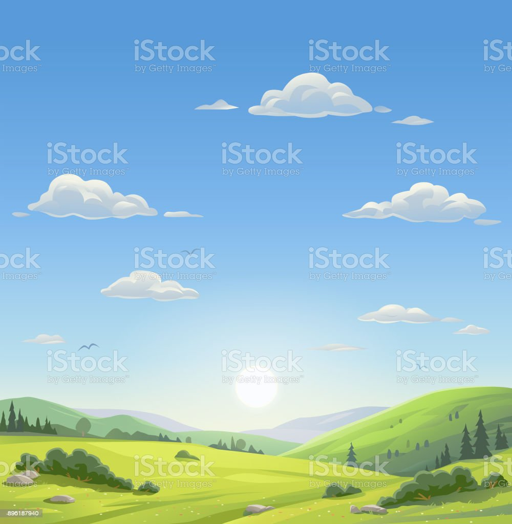 Beautiful Morning Landscape vector art illustration