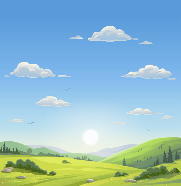 Beautiful Morning Landscape vector art illustration