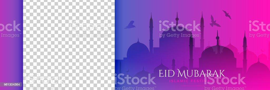 beautiful mosque scene with flying birds for eid mubarak vector art illustration