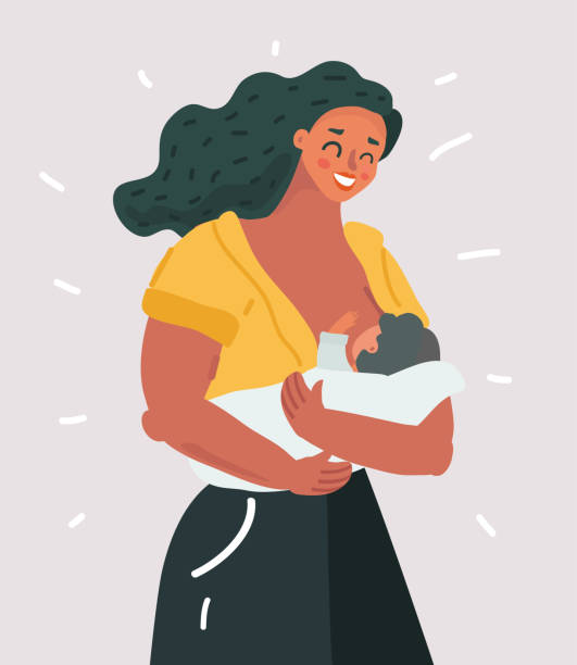 ilustrações de stock, clip art, desenhos animados e ícones de beautiful mother breastfeeding her baby child. - breastfeeding