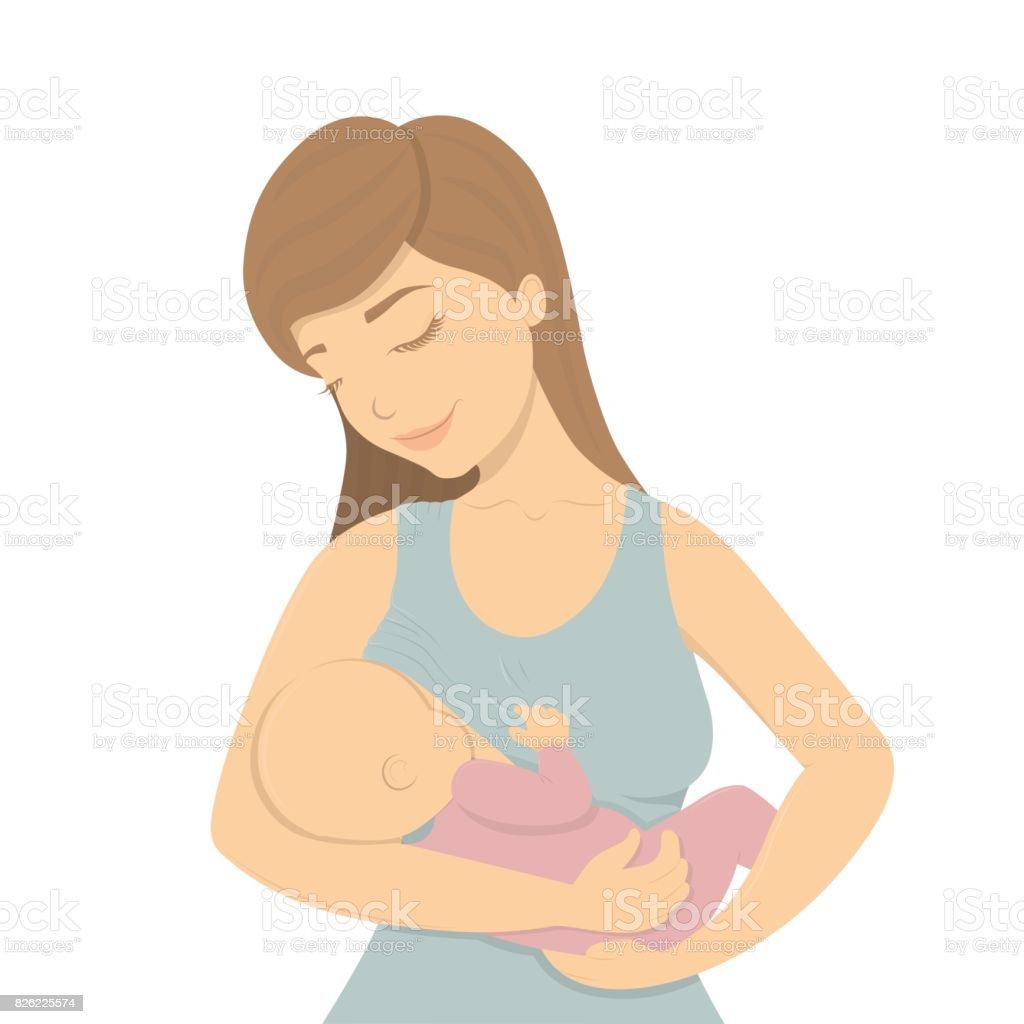 Beautiful mother breastfeeding. vector art illustration