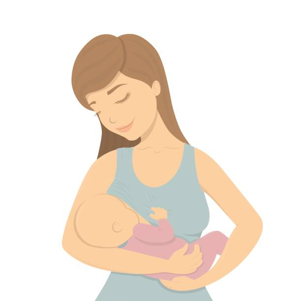 ilustrações de stock, clip art, desenhos animados e ícones de beautiful mother breastfeeding. - breastfeeding