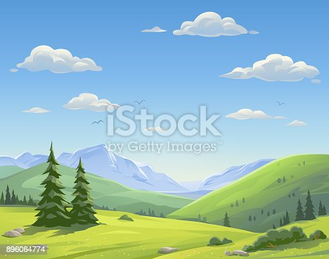 Vector illustration of a beautiful mountain landsapce with trees, bushes, hills and green meadows under a bright blue, cloudy sky. Illustration with space for text.