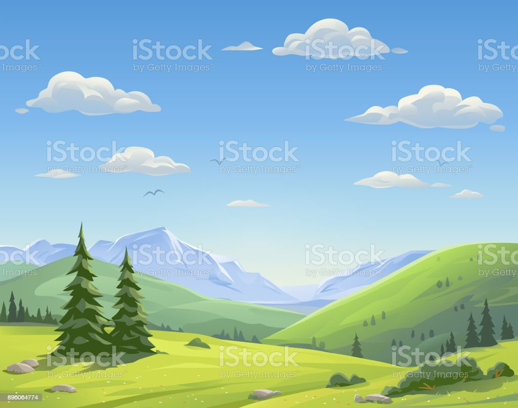 Beautiful Mountain Landscape vector art illustration