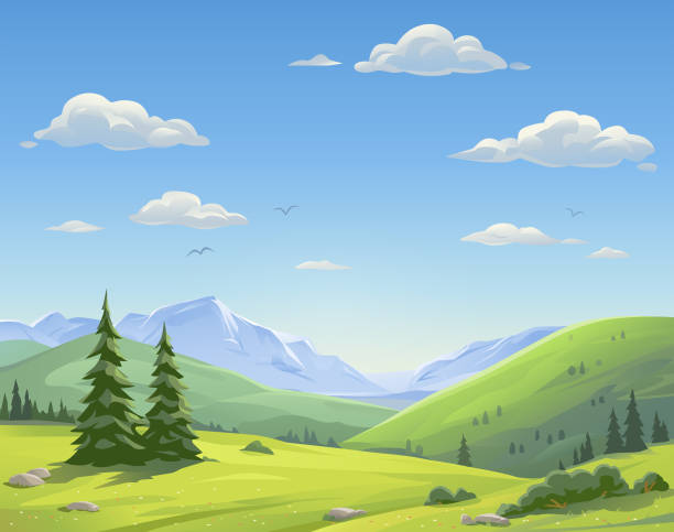 beautiful mountain landscape - панорамный stock illustrations